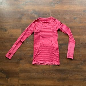Pink& Maroon Striped Lululemon Long Sleeve